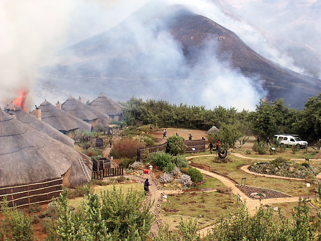 Veld Fire at Maliba Lodge in Ts'ehlanyane National Park