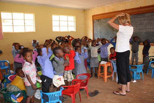 Kaye Young teaching in Lesotho