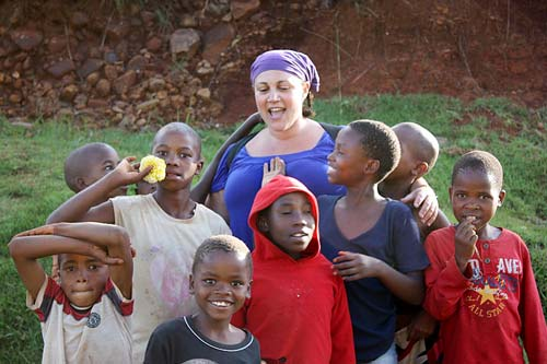 Lidia with Lesotho school children