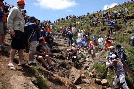 Spectators crowd Bushmans pass in Lesotho to view competitors of the 2011 Roof of Africa enduro event