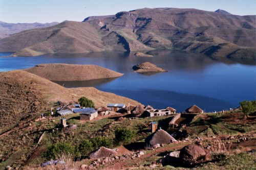Basotho village on the banks of the Mohale Dam, Lesotho
