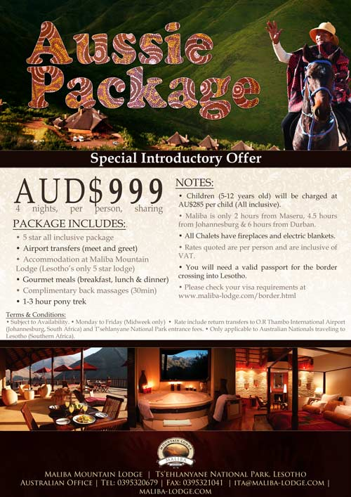 Special accommodation package for Maliba Mountain Lodge