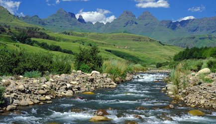 Drakensburg mountains with River
