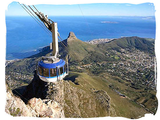 Cape Town Cable Car with view off the city