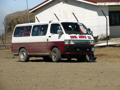 Khombis mini bus that is typical public transport in Lesotho