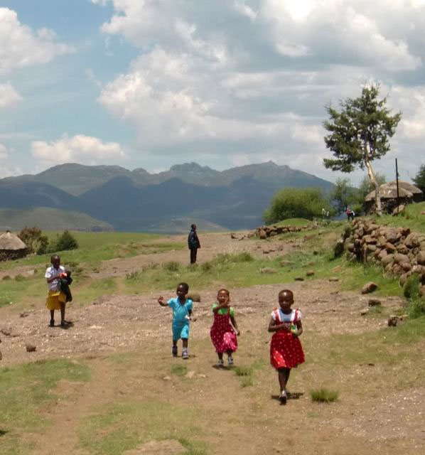 Basotho children in their Christmas clothes