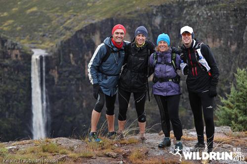Bernie Marais (28), Karen James (4), Michelle Theron (29), Matthew Townshend (41) at the Maletsunyane falls on Day 2