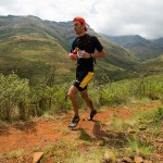 Men's overall winner Andrew Hagen enjoying some open running on the well-maintained trails of the Tsehlanyane National Park during the final stages of the race