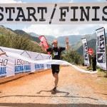 Andrew Hagen celebrates as he crosses the finish line of the Lesotho Ultra Trail