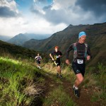 AJ Calitz sets the pace ahead of Andrew Hagen and Alistair Dreamwilder in the opening 10km of the Lesotho Ultra Trail