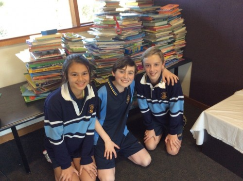 St Macartans School students who assisted with the book collection.