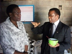 South Africa's Director General of International Relations and Cooperation, Ambassador Jerry Matjila, discusses school meals with WFP Country Director Mary Njoroge. Copyright: WFP/Tsitsi Matope